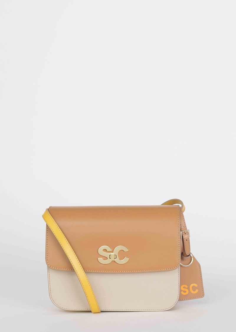 Leather shoulder bag with logo