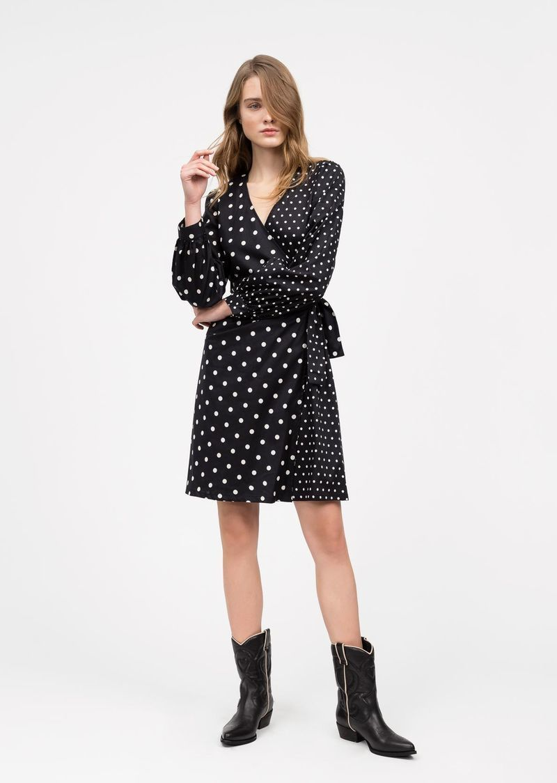 Polka-dot poplin dress