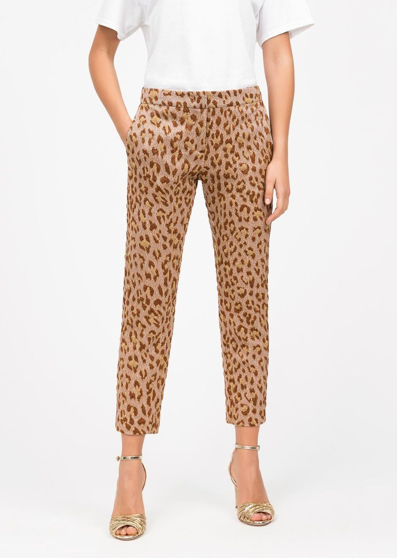 Animal-print brocade trousers